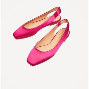 Zara Satin Slingbacks Ballerinas Fushia Size 6.5